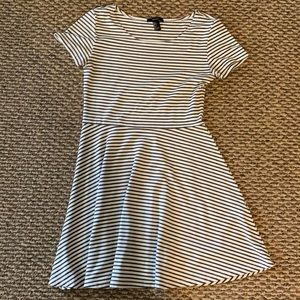 Olive and white striped dress.